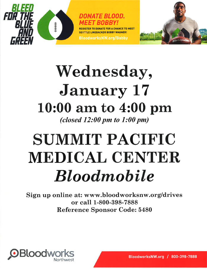 Blood Drive @ Summit Pacific Medical Center, Parking Lot | Elma | Washington | United States