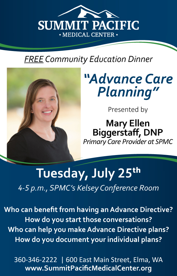 Community Education Dinner: Advance Care Planning @ Summit Pacific Medical Center, Kelsey Conference Room | Elma | Washington | United States