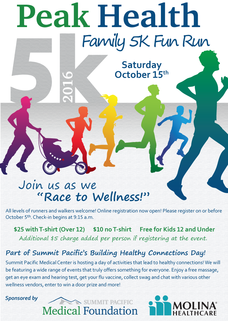 Peak Health Family 5k Fun Run & Walk @ Summit Pacific Medical Foundation | Elma | Washington | United States
