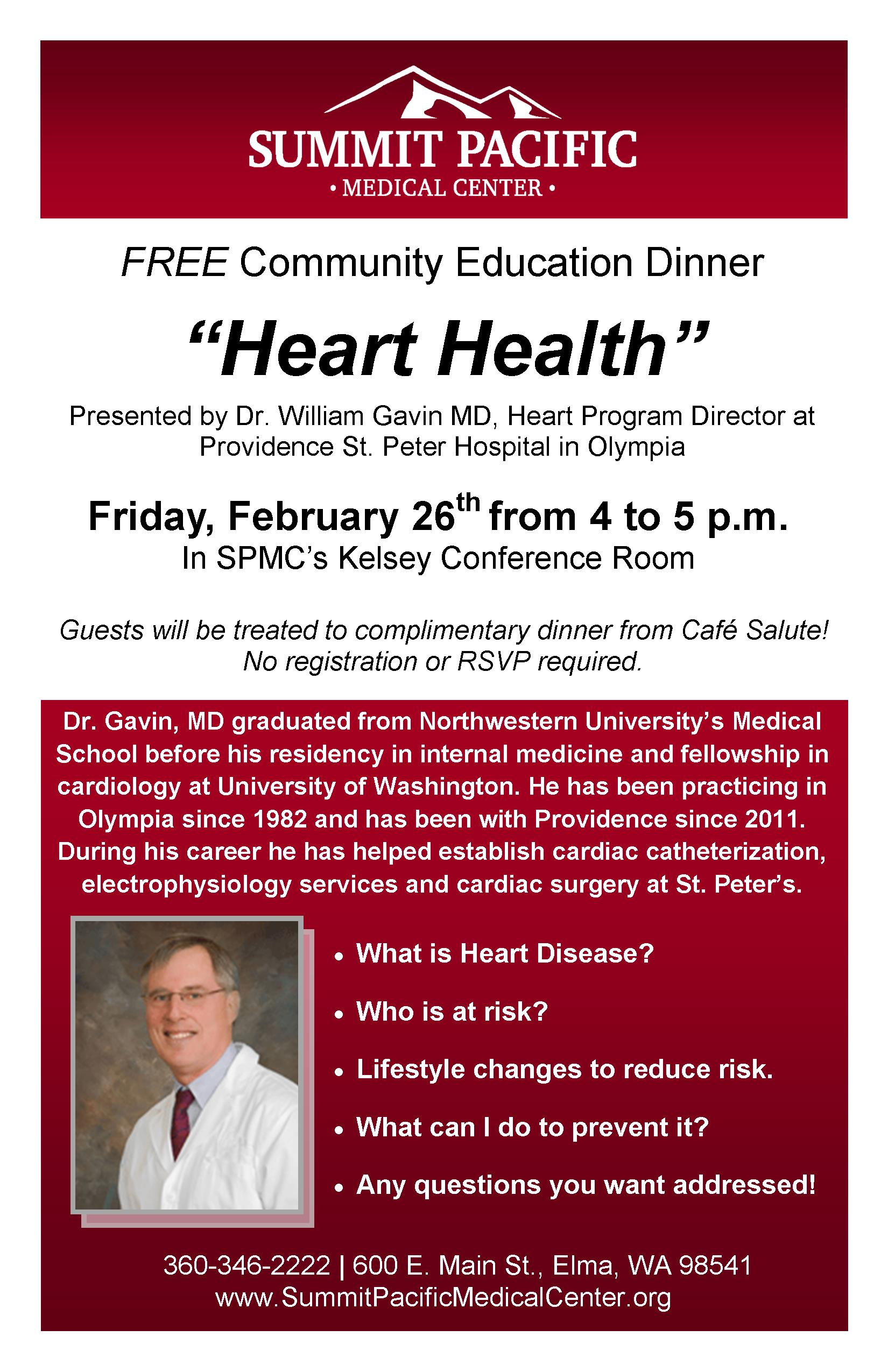 Community Education Dinner-Heart Health @ Summit Pacific Medical Center's Kelsey Conference Room | Elma | Washington | United States