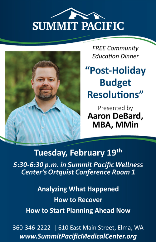 Community Education Dinner: Post-Holiday Budget Resolutions @ Summit Pacific Wellness Center