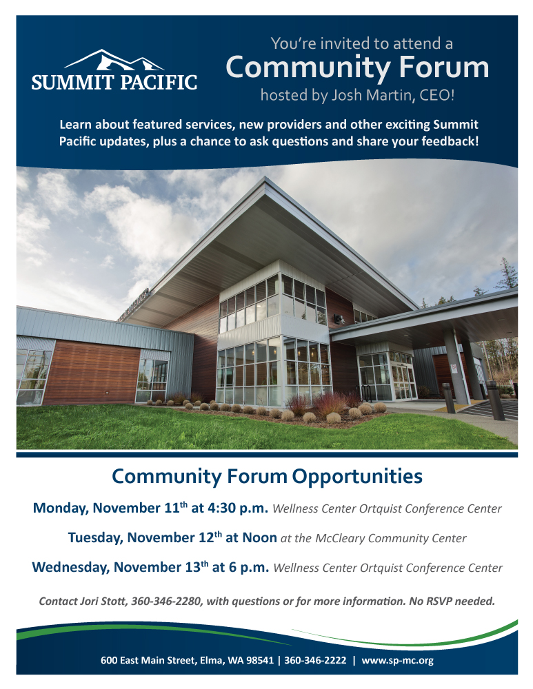 Summit Pacific Community Forum @ Summit Pacific's Wellness Center, Ortquist Conference Center
